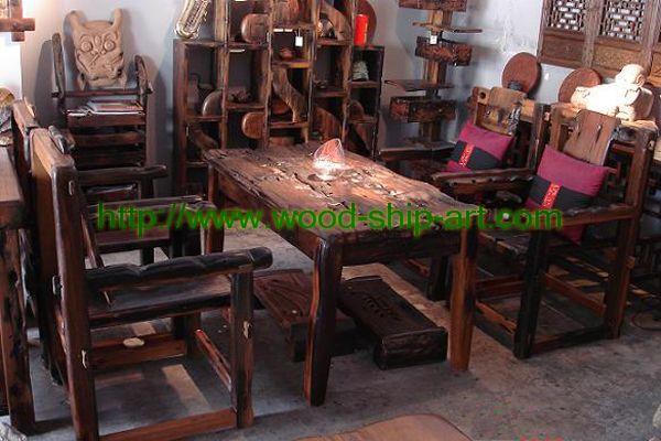古船木家具-会客椅产品大图 - 江门市品尚轩古船木
