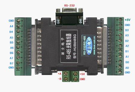 HUB8485G 光隔RS485/232转8路RS485集线转换器新!世界最小!