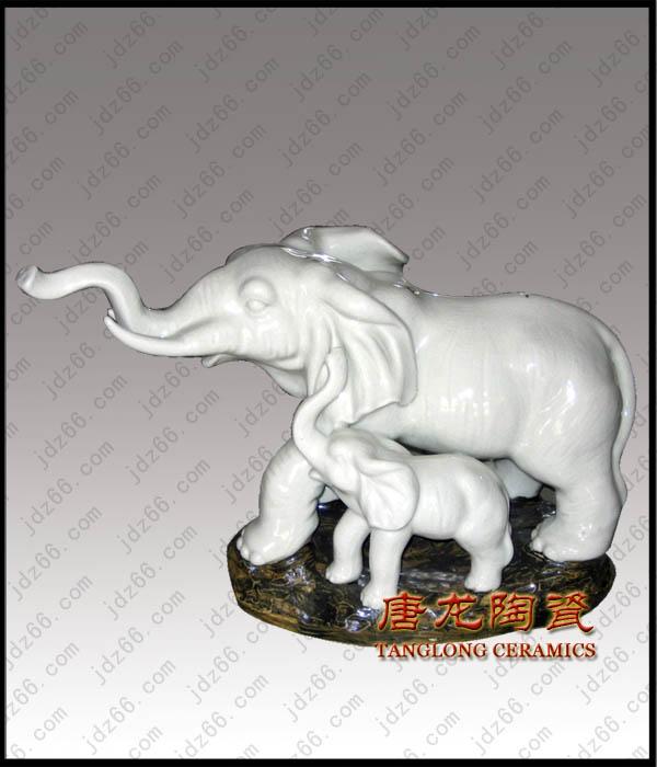景德镇雕塑瓷,陶瓷大象雕塑,陶瓷小动物雕塑,陶瓷工艺品,商...