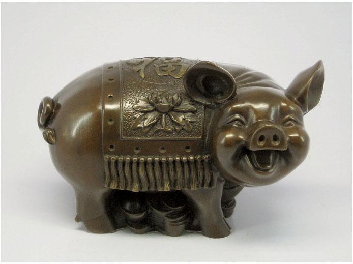 十二生肖福猪  青铜动物雕塑