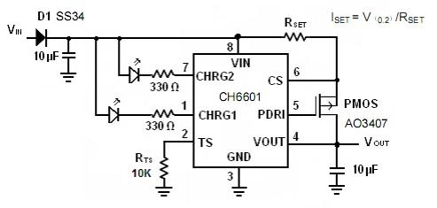 4v-12v,外部通过一个电阻可以精确的设置充电电流,充电电流高达700ma