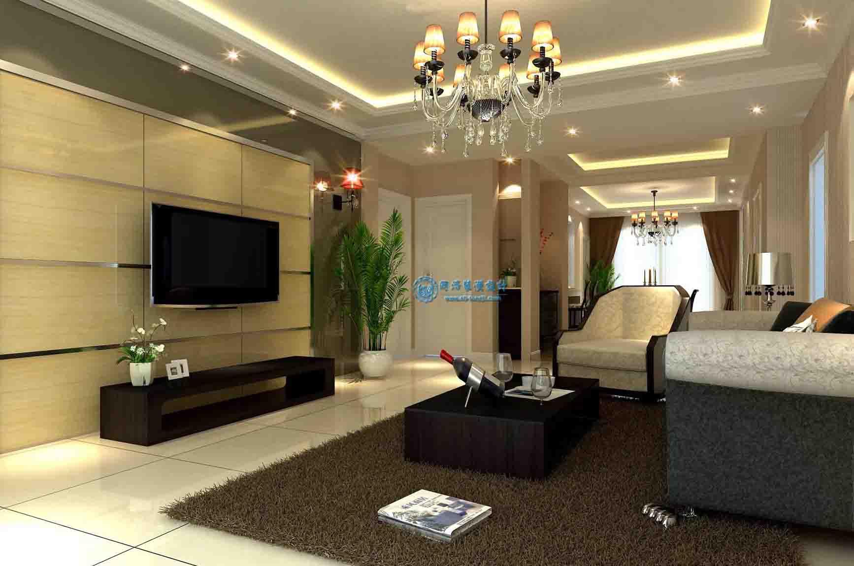 [供应]简约温馨 现代白领客厅装修 效果图同济装潢设计