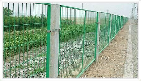在这种护栏网的表面处理为镀锌和喷涂,也可以任选一种,顶端盖有塑料盖