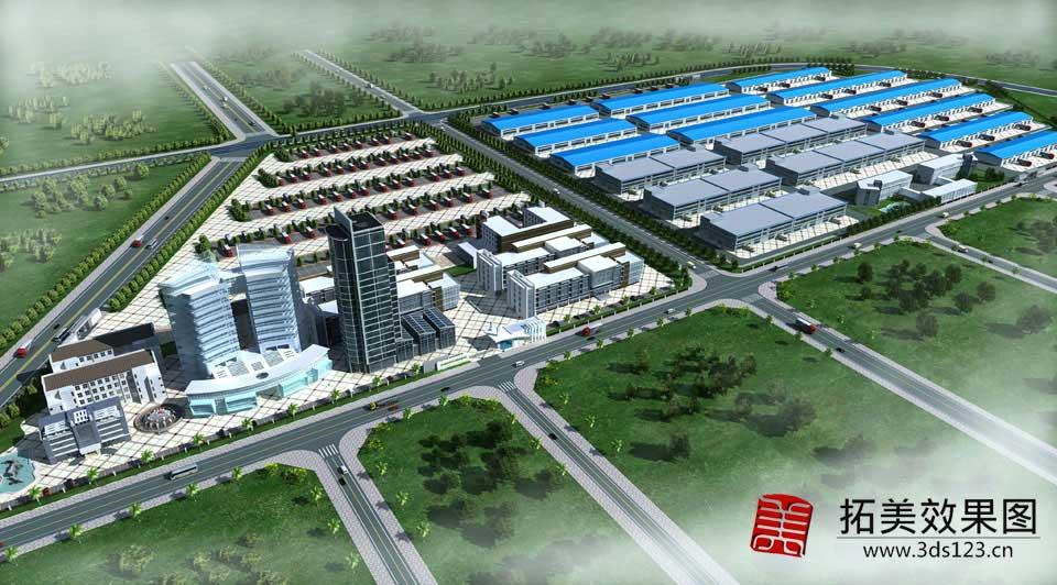 工业园区厂房建筑效果图,公路道路绿化改造效果图制作  拓美设计效果