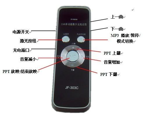 1,功能齐全,发射器集合无线麦克风,ppt翻页,激光教鞭及mp3音频存储
