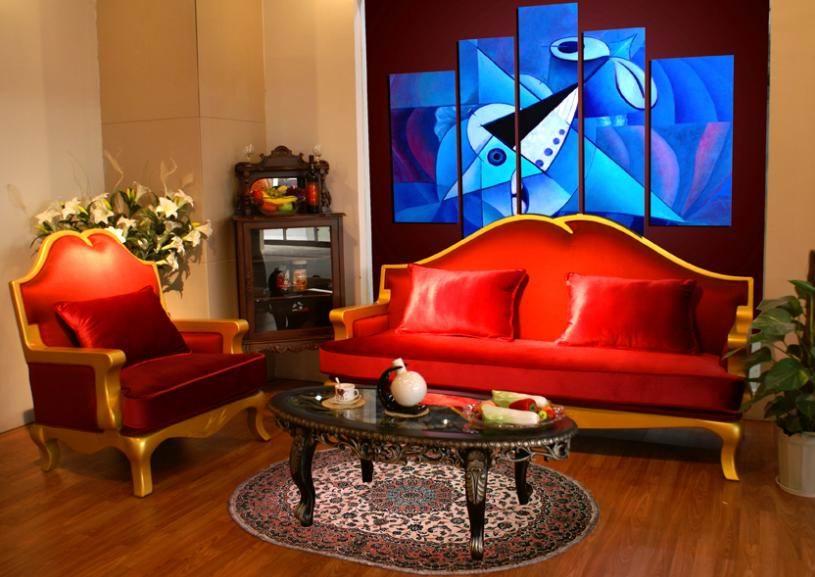 欧式红色花边沙发