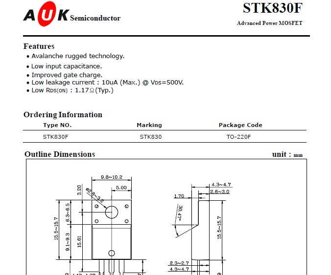 代理auk场效应管n-ch 700v 0.3a stk0170 产品大图
