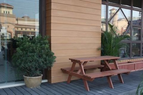 塑木连桌椅,木塑连桌椅,塑木餐桌椅,木塑野餐椅配套