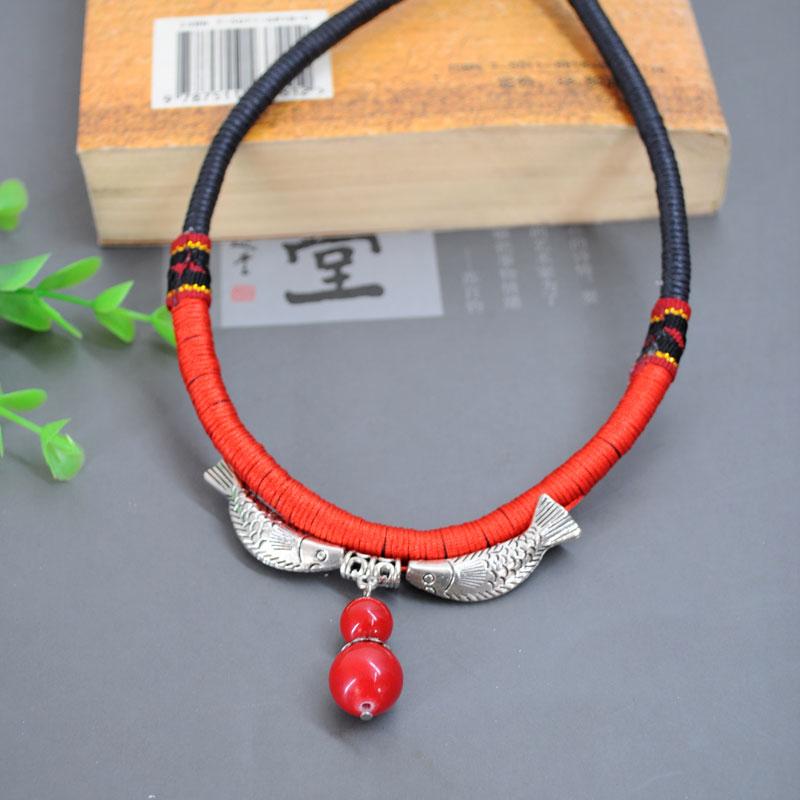 双鱼戏珠手工编织项链 古道响铃008976356