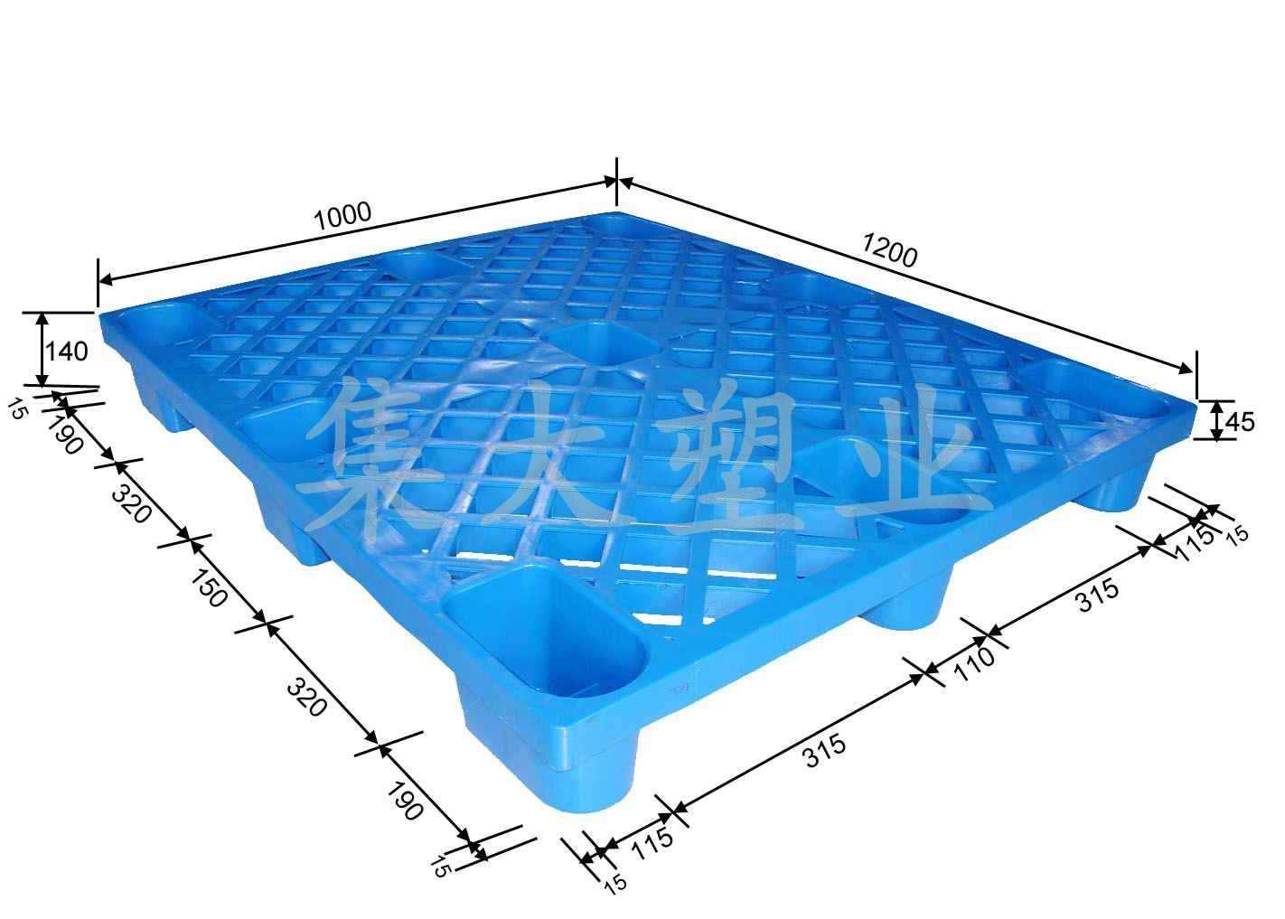 中国 集大/集大塑业九脚网格1210塑料托盘产品大图